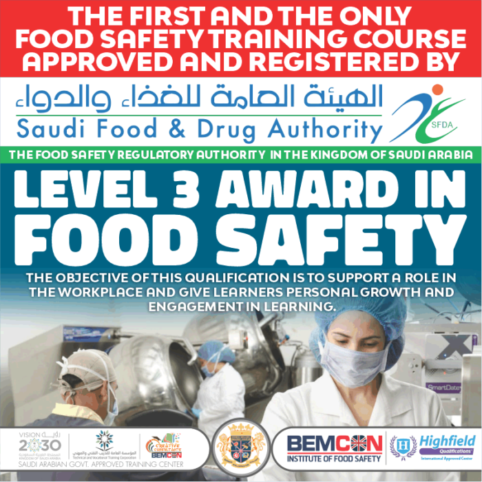 Level 3 Award in Food Safety by SFDA